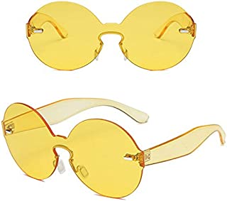 TT WARE Women Summer Colorful Round Frame Sun Glassess Outdooors Uv Protection Glasses-Yellow