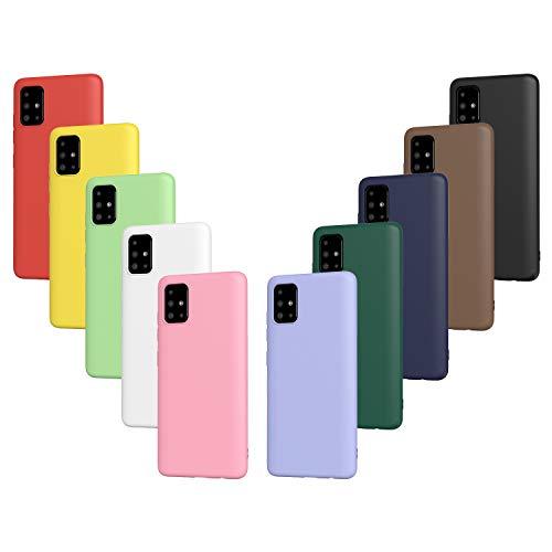 ivoler 10x Hülle für Samsung Galaxy A51, Ultra Dünn Tasche Schutzhülle Weiche TPU Silikon Handyhülle Hülle Cover (Schwarz, Weiß, Blau, Grün, Dunkelgrün, Rosa, Rot, Gelb, Braun, Lila)