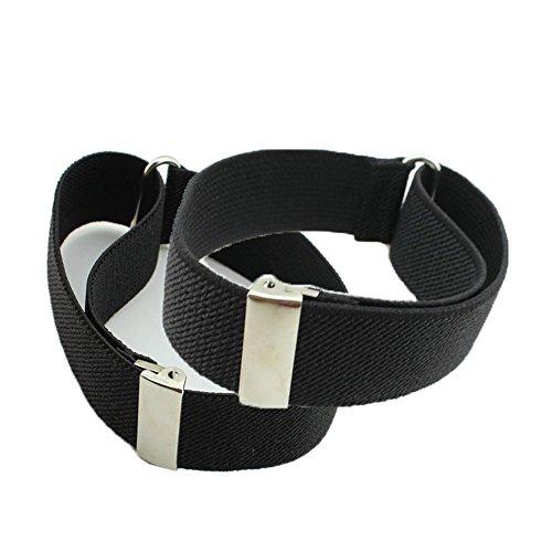 HBF 1 Paar Hemd Ärmelhalter unisex elastisch verstellbar Hülsenhalter Armband Hochzeit Festival Strumpfbandhalter Ärmelband, Schwarz, One size