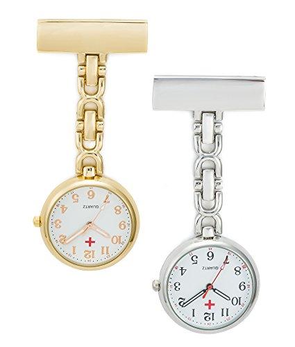 SEWOR Reloj para Personal médico Colgante Reloj de Bolsillo – con Profundo Azul Marca Piel Caja Gran Regalo (Oro & Plata)