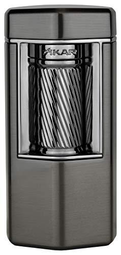 Xikar Meridian Triple Soft Flame Cigar Lighter, Powerful, Elegant, Innovative, Reliable Flint Ignition, Large Easy-to-Use Roller Bar, EZ-View Fuel Window, High Altitude Performance, Gunmetal