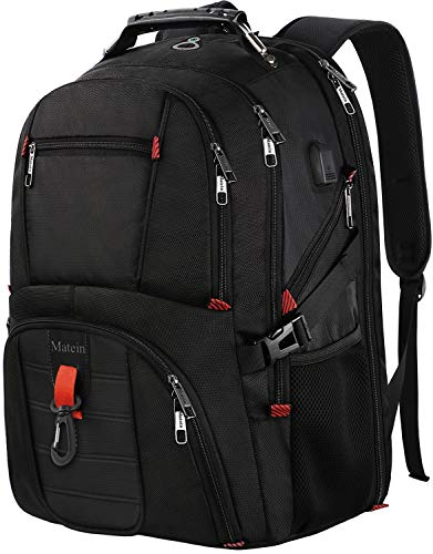 Travel Backpack for International Travel, 17 Inch Laptop Backpack with USB Port and Luggage Strap for Women and Men, Extra Large TSA Friendly Water Resistant Business Computer Bag for Airplane