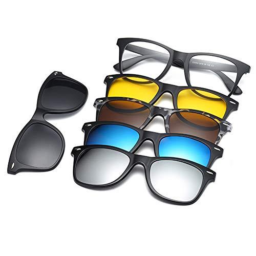 Magnético 5 Piezas Polarizadas Clip desmontable Lens en Gafas de Sol Marco Plástico Para Conducción Nocturna