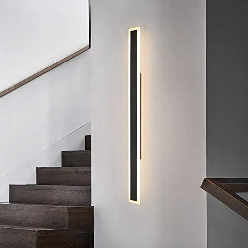 LANMOU Lámpara de Pared LED Largo Minimalista Aplique de Pared Interior Negro Con 3 Temperaturas de Color Bañadores de...