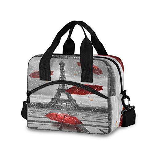 Mnsruu Eiffelturm Paris roter Regenschirm Straße Lunchbox Kühltasche Wiederverwendbare Tragetasche Schultertasche Isolierte Lunchbox für Outdoor Picknick, Bootfahren, Arbeit, Schule