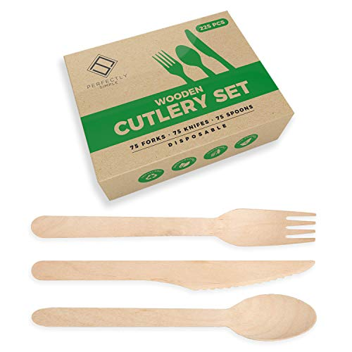 225 Piece Perfectly Simple Wooden Cutlery Set   75 Spoons, 75 Forks & 75 Knives   Biodegradable - Eco Friendly – Strong & Sturdy Sets for Picnic, Camping, Parties & Travel – Recyclable Box