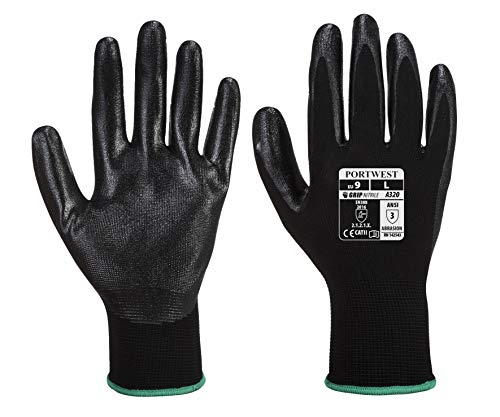Portwest A320 Paire de gants de protection des mains en nylon Dexti Grip, Medium, noir