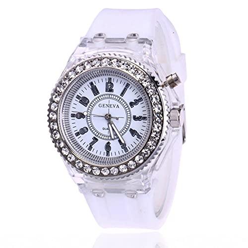 Persdico Relojes deportivos LED con diamantes de imitación coloridos, relojes de pulsera de silicona para mujer, reloj de cuarzo brillante y luminoso para mujer