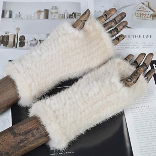 SSSGHH Handschuhe Winter-Dame Faux Fur Gloves Handmade Knitted Faux Fur Fingerless Gloves Damen-Starke Elastische Reale Faux-Pelz-Handschuhe