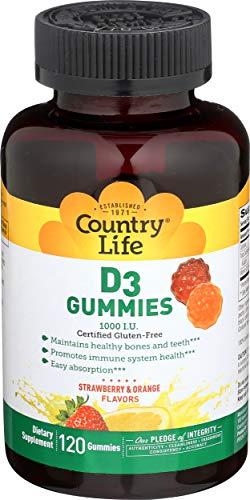 Country Life Vitamin D3 Gummy 1000 iu - 120 Gummies - Deficiency - Immune Health - Healthy Teeth and Bones - Great Taste - Great for Kids - Strawberry and Orange