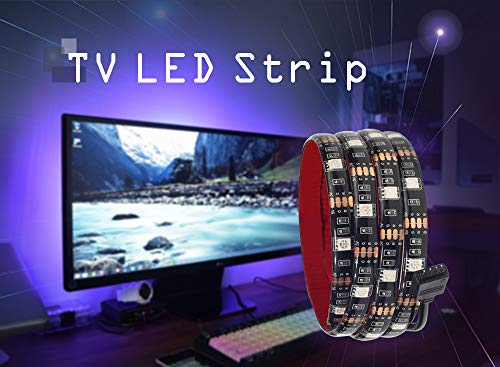 LED Strip Light, 3.28ft/1M TV Backlight with RGB IP65 Waterproof Lighting Strip, 5050SMD 30LEDs 5VDC RGB Flexible Color Changing LED Strip Lighting with Remote TV Accessories and Desktop PC