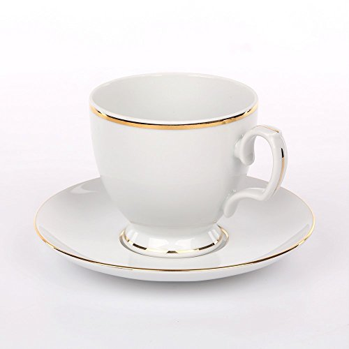 Tafelservice Eßservice Kombiservice Kaffeeservice Porzellan 12 Personen/6 Personen Service MariaPaula Chodziez (Tasse mit Untertasse 220 ml - 1 Stück, Weiß mit Goldstreifen)