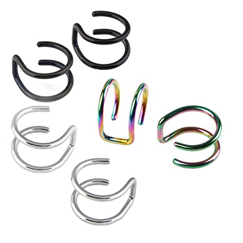 Jovivi 2pc Stainless Steel Wrap Ear Cuff Earring Nose Lip Ring Cartilage Clip On No Piercing
