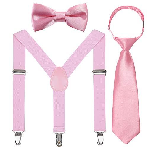Kinder Hosenträger Fliegen Krawatten Sets - Einstellbar Elastisch Klassisch Hosenträger Fliegen Set für 6 Monate alte - 13-jährige Jungen & Mädchen (Rosa,65 cm(5 Monate - 6 Jahre alt))