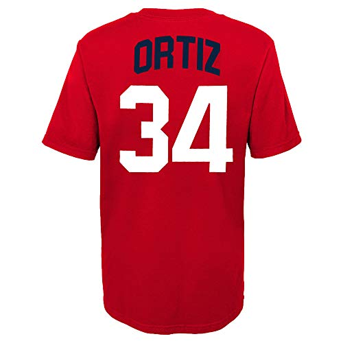 MLB Youth 8-20 Team Color Alternate Primary Logo Name and Number Player T-Shirt (8, David Ortiz Boston Red Sox Red Alternate)