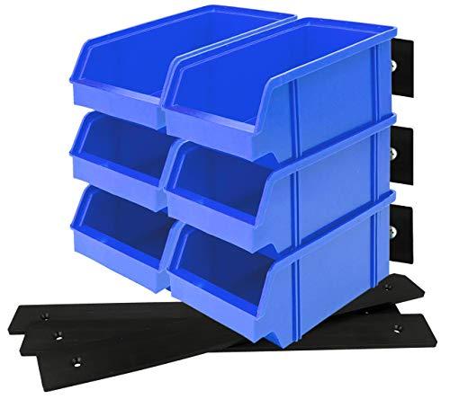 Lantelme 6 Stück Stapelboxen Blau Gr3 3 Stk Wandleisten schwarz Set Kunststoff Werkstatt Box Aufbewahrungsbox 7857