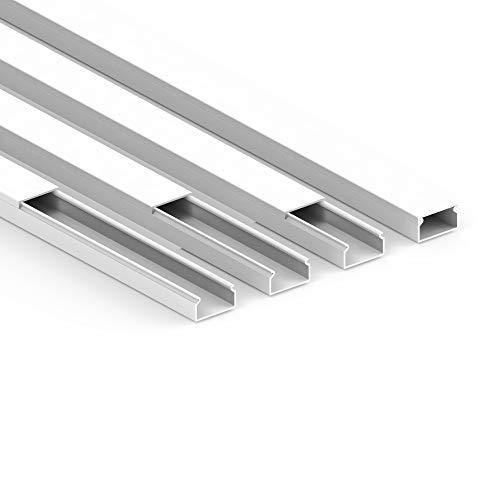 Habengut Kabelkanal (selbstklebend) 22x12 mm aus PVC, Farbe: Weiß , Länge 4 m (4 Stück á 1 Meter)