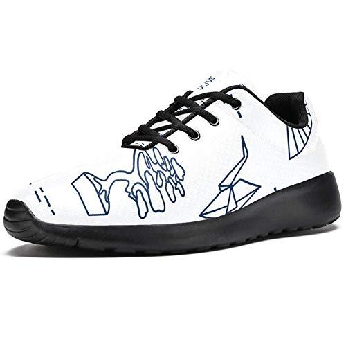 TIZORAX Sport-Laufschuhe für Herren, traditionelles japanisches Muster, modische Sneaker, Netzstoff, atmungsaktiv, Wandern, Tennisschuh, Mehrfarbig - mehrfarbig - Größe: 40 2/3 EU