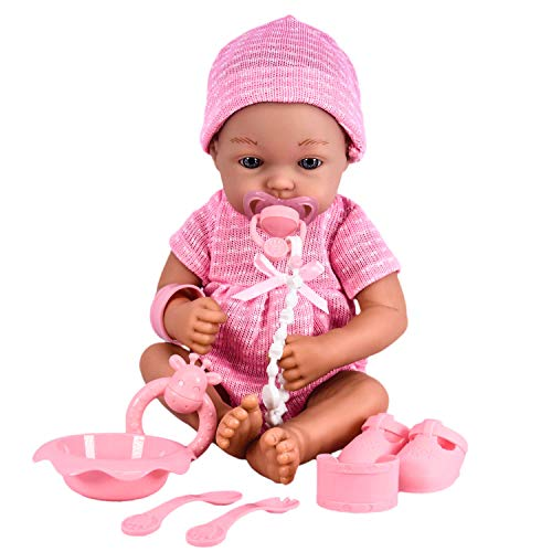 The Magic Toy Shop 14' Real Touch Vinyl Skin New Born Girl / Boy Baby Doll With Dummy & Accessories (Pink Girl Doll)