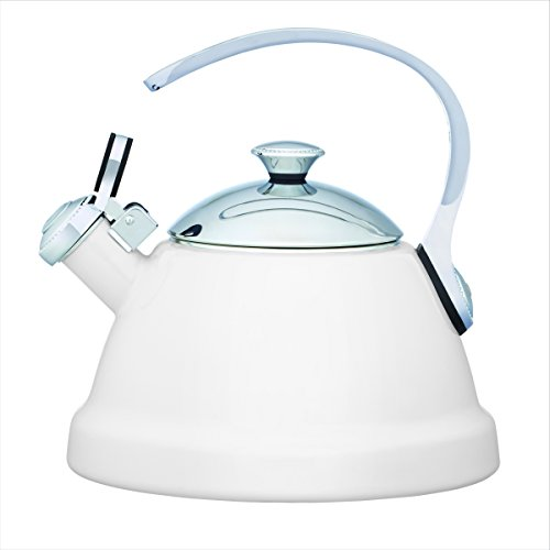 Copco 5216624 Beaded Enamle On Steel Tea Kettle, 2-Quart, White