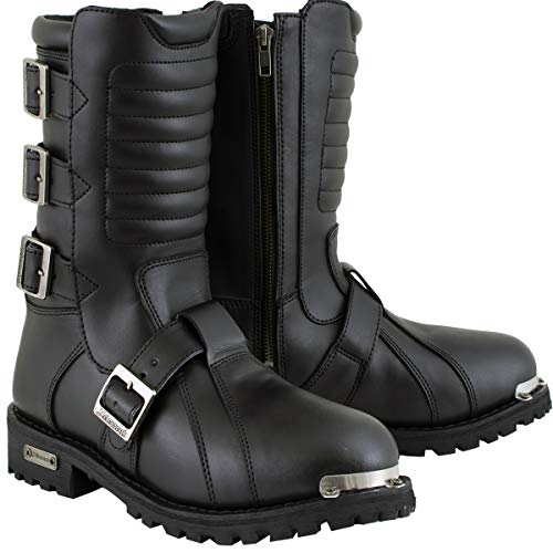 Xelement 1503 'Executioner' Men's Black Leather Motorcycle Boots - 10
