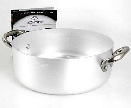 Pentole Agnelli ALMA10634 Casseruola Bassa con 2 Maniglie in Acciaio, Alluminio Professionale 3 mm, 34 cm