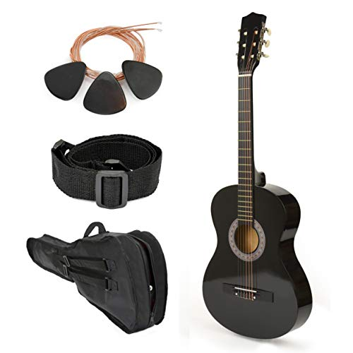 """Left Handed Wood Guitar with Case and Accessories for Boys Girls Teens Beginner 38"""" (Black)"""