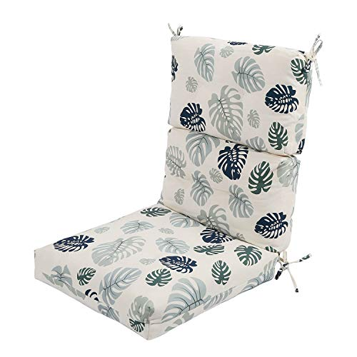 LNC High Back Chair Cushion for Patio Furniture, Monstera Leaf Printing