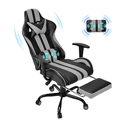 Massage Racing Chair for Gaming,PC Gaming Chair,Video Game Chair,Computer Chair, E-Sports Chair,Ergonomic Office Chair with Retractable Footrest and Adjustable Headrest and Lumbar Support(Cool Grey)