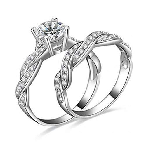 U-K 2 Piezas de Anillo de Bodas de Compromiso de Diamantes de imitación Plateado Plateado para Mujer con Estilo y popularSostenibleHábil y Profesional