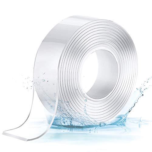 Jeteven Waschbares Spurloses Klebeband, 3M Nano Doppelseitiges Klebeband Transparent Entfernbares Wiederverwendbares Klebestreifen, Extra Starke Klebekraft Wasserdichtes, Rutschfest Multifunktionales