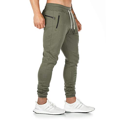 Yageshark Herren Jogginghose Sporthose Baumwolle Fitness Slim Fit Hose Freizeithose Joggers Streetwear(Grün,Large)