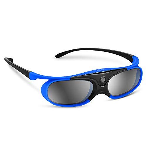 BOBLOV Active Shutter 3D Brille DLP-Link USB Blau Für BenQ W1070 W700 Dell Projektor (Blau 1Pack)