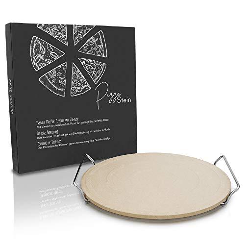 Vulcanic Stone Pizzastein | 2er-Set | Für Backofen und Gasgrill | Pizza Stone Halterung | Codierit | 30cm x 1cm (Rund)