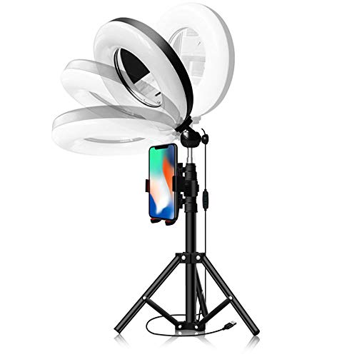 LED Ring Light 9inch met Tripod Stand En Phone Holder, verduisteren Bureau Make-Ring Light, Mini Desktop Lamp 3 Licht Modes 10-Level Instelling helderheid