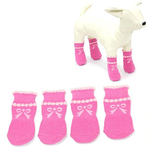 Calli Antidérapant bulle animaux adorables chaussettes animaux chaussettes motif noeud arc rose