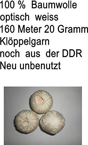 U Klöppelgarn 160 M 20 Gramm 6 Knäul,optisch Weiss