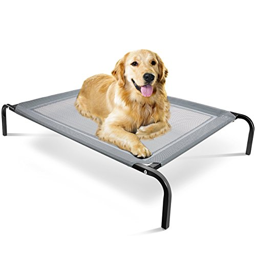 Paws & Pals Elevated Dog Bed - Steel Frame, Temp Control, Indestructible Chew-Proof Pet Cot w/ Trampoline Suspended Raised Hammock Best for Portable in/Out Door Use Cooling Platform | Medium