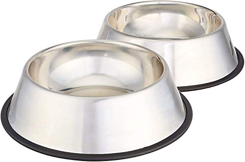 AmazonBasics Stainless Steel Pet Dog Water And Food Bowl, Set of 2 (11 x 3 Inches)