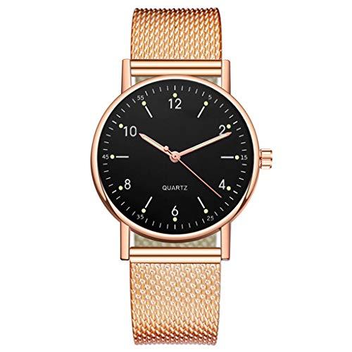 Han Shi Womens Luxury Luminous Dial Stainless Steel Band Watch Round Date Analog Quartz Wrist Watch Ladies Elegant Casual Bracelet Business Classic Dress Wrist Watch(B)