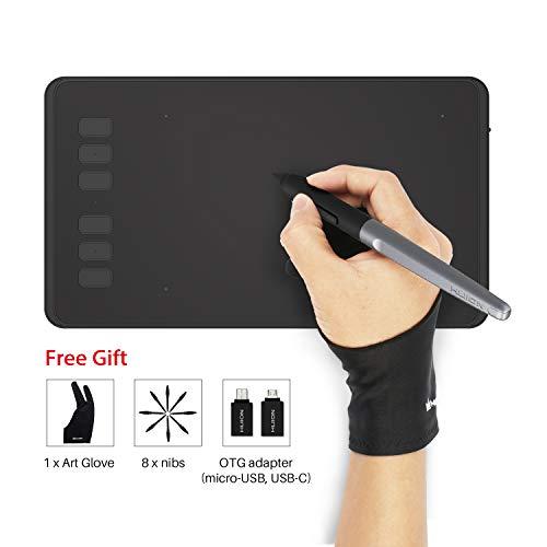 HUION INSPIROY H640P Tableta Gráfica de Dibujo Lápiz óptico Sin Batería con 8192 Niveles de Sensibilidad a la Presión 6+2 Teclas Rápidas y 1 Soporte del Lápiz Rápidas supporta Windows, Mac e Android.
