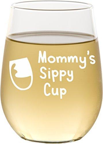 Mommy 's un vasito sin tallo copa de vino, nueva mamá regalo, regalos del día de madre