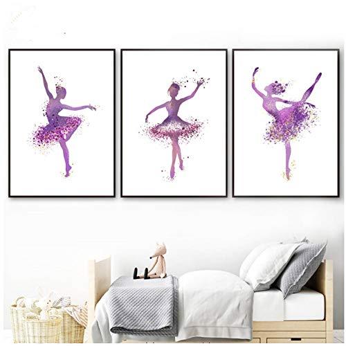 Moderne Ballerina danser en hoge hak Poster Abstract Print Canvas Schilderij Foto Home Wall Art Graffiti Decoratie-50x70cm Geen frame