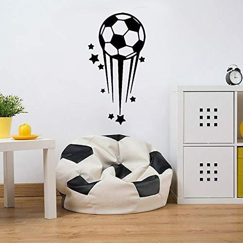 Pegatinas de pared de estrellas de fútbol de dibujos animados, pegatinas de pared de dormitorio para niños, afición de fútbol, póster de decoración del hogar moderno extraíble A7 57x110cm