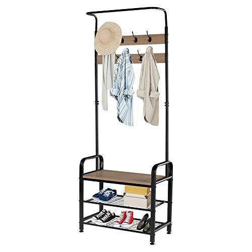 ZONSE Industrial Coat Rack with Metal Framefor Hall Tree Entryway Shoe Bench Storage Shelf Organizer Accent FurnitureGreyBlack