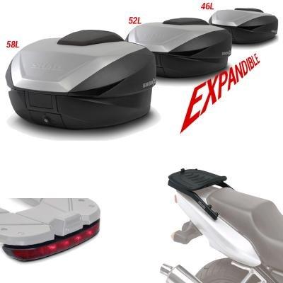 Sh59luhe49 - Kit fijacion y Maleta baul Trasero + luz de Freno Regalo sh59 Compatible con Yamaha Tracer 900 2015-2017 Yamaha mt-09 Tracer 2015-2016