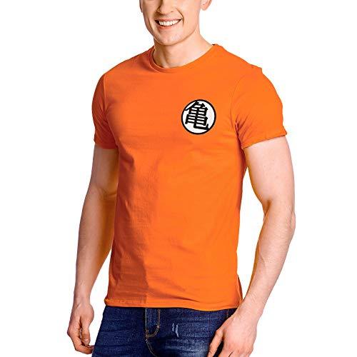 Elbenwald Dragon Ball - T-Shirt pour Hommes Kaio Kame Symbole délavé - Coton - Orange - XL