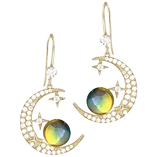 KINGVON KINGVON - Pendientes asimétricos de cielo estrellado a la moda, creativos con forma de estrella y luna, circón, ganchos para la oreja, pendientes bohemios, joyería, regalo para la vida dia