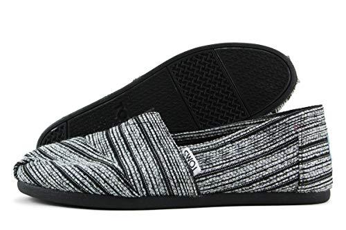 TOMS Women's Seasonal Classics Silver Metallic Stripe Loafer 5.5 B (M)