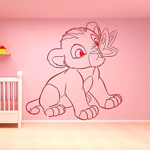 Cartoon Movie Lion King Nette Kleine Simba schmetterling Kunst Vinyl Wandaufkleber Schlafzimmer Baby Room Home Decoration Wandtattoos 42 * 43cm E